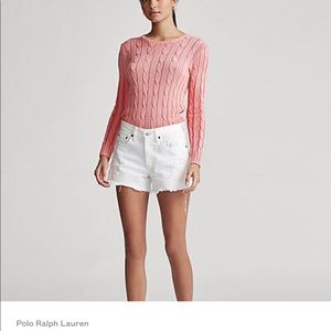 Soft pink RL cable knit sweater